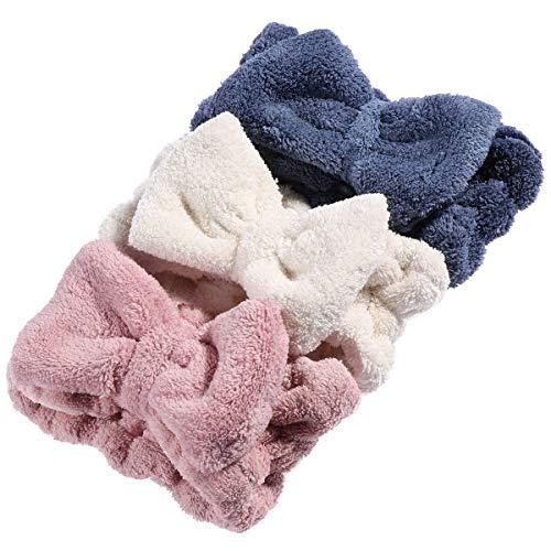 Frcolor 3 UNIDS Coral Hair Bow HeadBands Suave Grueso Wrap Elastic Maquillaje Headwear Para Mujeres Niñas
