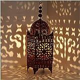 Casa Moro | Linterna oriental Linterna marroquí de hierro Firyal H-110 cm x ancho 31 acero inoxidable marrón para exterior e interior | linterna colgante y de pie | L1651