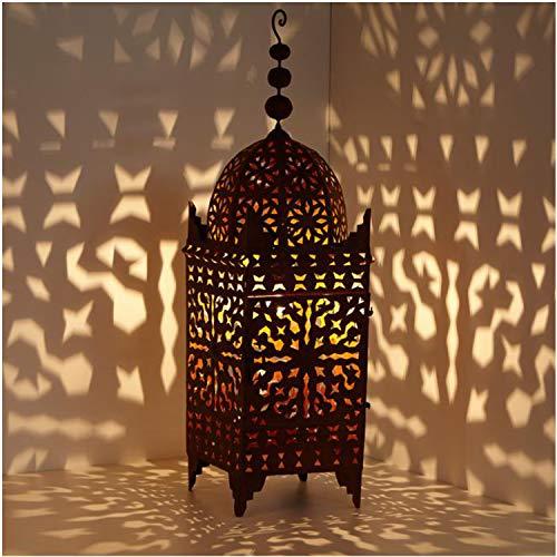 Farol oriental de hierro marroquí, farol de jardín hecho a mano, farol de mesa, artesanía de Marrakech para juegos de luz, como de 1001 noches, Firyal H-110