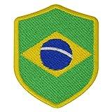 FanShirts4u Aufnäher - BRASILIEN - Wappen - 7 x 5,6cm - Bestickt Flagge Patch Badge Fahne Brasil (gelbe Umrandung)