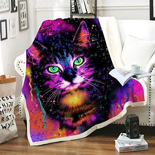 Sticker Superb Kinder 3D Cartoon Tier Throw Decke Auf Bett Sofa Katze Löwe Tiger Einhorn Druck Sherpa Komfortdecke Haustier Flauschige Tagesdecke Plüsch Dünne Steppdecke (Bunt 1,150x200 cm)