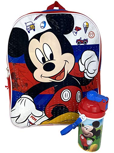 Disney Mickey Mouse 15' Backpack Bag & Canteen Water Bottle - 2 Piece Set
