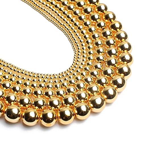 Cuentas de hematita natural, oro rosa, negro, plateado, cuentas redondas sueltas de calidad superior para hacer joyas, pulseras de bricolaje, 2-12 mm, 15 '-18K, oro, 8 mm, 46 piezas