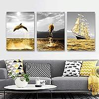 オーシャンランドスケープセーリングボートゴールデンオーシャンライフイルカウォールアートキャンバスポスターとプリントリビングルームのウォールアート画像-50x70cmx3フレームなし