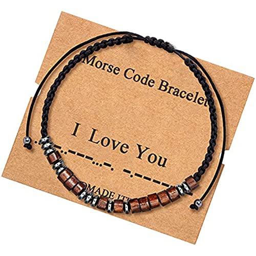 N/A/A Pulsera inspiradora Morsecode para mujer con hematitas negras y perlas de regalo para ella, ZJ4322