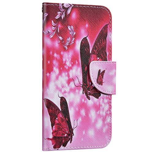 Saceebe Compatible avec iPhone XR Housse Portefeuille Cuir Coque 3D Motif Coloré Coque Flip Wallet Case Porte-Cartes Support Stand Clapet Etui Housse de Protection,Papillon Rose