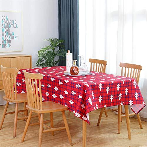 CCBAO Mantel A Cuadros Rojo De Poliéster, Mantel De Hotel De Restaurante, Mantel Rectangular con Estampado De Hojas 100x140cm