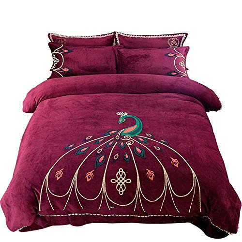 REWD Soft Bedding Bed Linen Set Bedding, Peacock Embroidery Duvet Cover Sets, Four-Piece Bedding Autumn and Winter Warm Flannel Quilt Cover Sheets Zigzag Periphery with Zip Closure Easy Care