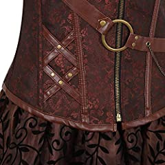 Grebrafan Steampunk Leather Corsets 3 Piece Outfits for Women Bustiers Skirt White Blouse Set Retro Gothic (UK(16-18) 3XL, Brown) #4
