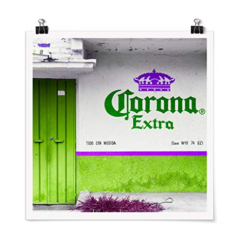 Bilderwelten Poster Galerieprint Corona Extra Grün Quadrat Selbstklebend seidenmatt 90x90 cm