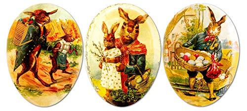 Easter Eggs for Easter Basket Stuffers Easter Egg Hunt, Vintage Easter Decor, Fillable Paper Mache Easter Eggs, Easter Gifts 3.5 Inches Set of 3