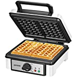1200W Belgian Waffle Maker, Aicook 2 Slice Waffle Maker With Temperature Control, Anti-Scald Phenolic Plastic, With Sight Glass, Nonstick Coating & Wire Storage