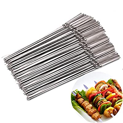 Shangjie Town 15pcs Reusable Flat Stainless Steel Barbecue skewers BBQ Needle Stick for Outdoor Camping Picnic Tools Cooking Tools