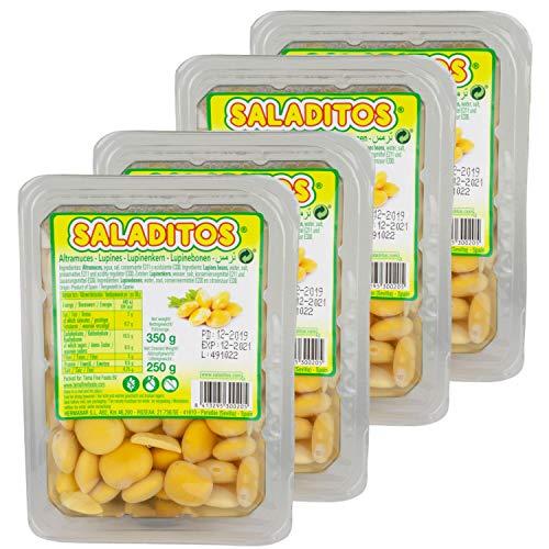 Saladitos Turmos - Weiße Lupinenbohnen gekocht und eingelegt in Salzlake - Lupinen Bohnen im 4er Set á 350 g Packung
