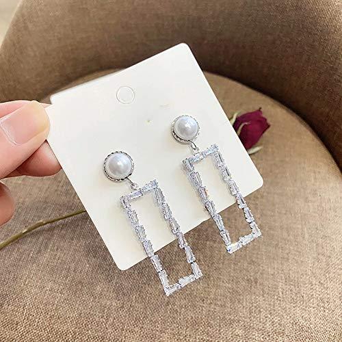 CHENSQ Pendientes rectangulares geométricos de Aguja de Plata para Damas, aretes de Diamantes Brillantes de Tendencia de Moda para Damas, aretes de Perlas