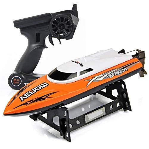 GRTVF Barco de Control Remoto eléctrico para Piscinas y Lagos, Barco RC de Alta Velocidad para niños o Adultos, con Auto-recaudación, función inversa para niños o niñas (Color : Orange)