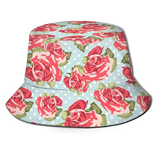 Sombreros de Cubo Hermosas Gorras de Pescador con Parte Superior Plana Rosa Rosa para protección UV