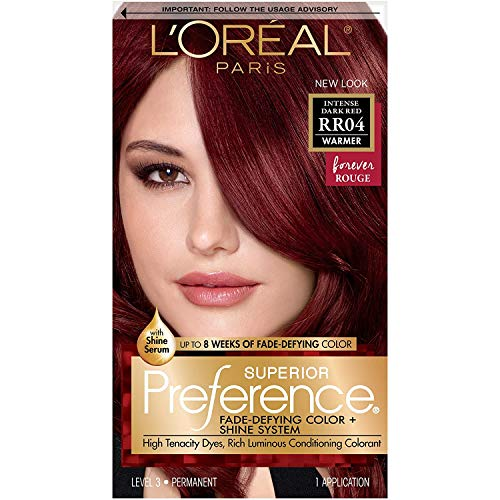 L'Oreal Paris Superior Preference Fade-Defying + Shine Permanent Hair Color, RR-04 Intense Dark Red, Pack of 1, Hair Dye