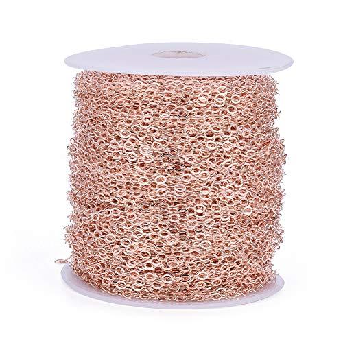 Beadthoven - Catene a croce in ottone placcato oro rosa, ovale, con rocchetto da 3,5 x 3 mm, per gioielli e cavigliere, accessori
