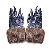 Demarkt Carnaval Guantes de Hombre Lobo Halloween Disfraces Calcetines de Mano Juguetes Decoraciones Prop Y Cosplay 25 * 14CM Silicona 1PCS Negro