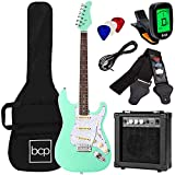 Best Choice Products 39in Full Size Beginner Electric Guitar Starter Kit w/Case, Strap, 10W Amp, Strings, Pick, Tremolo Bar - SoCal Green