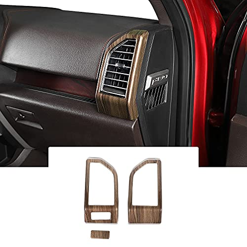 Voodonala Wood Grain Side Dashboard Panel Outlet Vent Covers Trim for Ford F150 2015 2016 2017