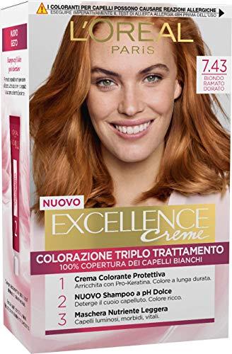 L'Oréal Paris Tinta Capelli Excellence, Copre i Capelli Bianchi, Colore Ricco, Luminoso e a Lunga Durata, 7.43 Biondo Ramato Dorato, Confezione da 1