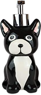 Isaac Jacobs Black and White Ceramic Dog, Liquid Soap Pump/Lotion Dispenser with Chrome Metal Pump (Holds Up to 9 Oz)– Great for Bathroom, Kitchen Countertop, Bath Accessory (Dog)