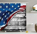 GAOFENFFR Amerikanische Flagge Dekor Duschvorhang Close Up Design Flagge über antiken rustikalen gewellten Board B&esland Stoff Badezimmer Dekor Set mit grau Navy