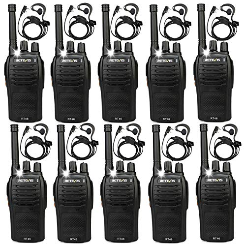 Retevis RT46 Walkietalkie 16 Kanalen PMR 446 Dual Power USB-oplaadkabel Portofoons Zaklamp Walkie Talkie met Headset (10 Stuks, Zwart)