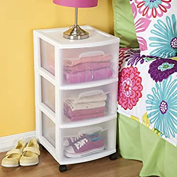 Sterilite 28308002 3 Drawer Cart White Frame with Clear Drawers and Black Casters 2-Pack