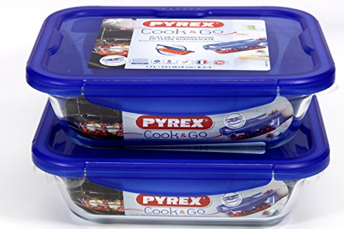 Pyrex RECTANGLE Cook & Go 2pc Set 1.7 litre- Rectangular Container with Lid 100% Waterproof, Suitable for oven and Microwave Food Container, 24 x 18 cm, 1.7 L