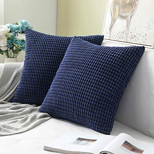 MIULEE Pack of 2 Decorative Throw Pillow Covers Soft Corduroy Solid Outdoor Pillow Cases Spring Dark Blue Pillowcases for Couch Cushion Sofa Bedroom 16 x 16 Inch