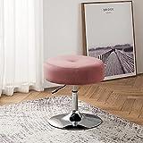 Art Leon Vanity Stool, Modern Large Round Swivel Adjustable Makeup Vanity Benche and Stool for Bathroom Bedroom, Blush Pink