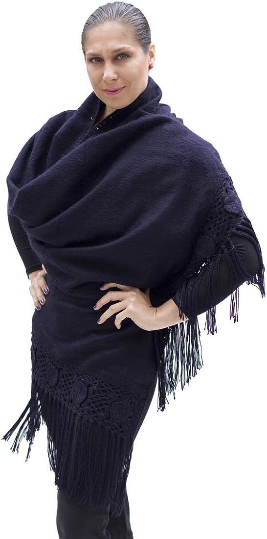 Alpaca Wool Winter Shawl Wrap with Crocheted Fringe from Peru