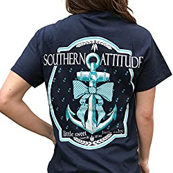 Southern Attitude Bow Anchor Navy Blue Short Sleeve Shirt