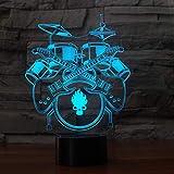 3D Illusion Instrumento musical tambor de guitarra Lámpara luces de la noche...