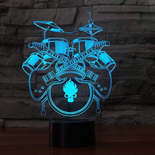 3D gitarre-trommel Optische Illusions-Lampen, Tolle 7 Farbwechsel Acryl berühren Tabelle Schreibtisch-Nachtlicht mit USB-Kabel für Kinder Schlafzimmer Geburtstagsgeschenke Geschenk