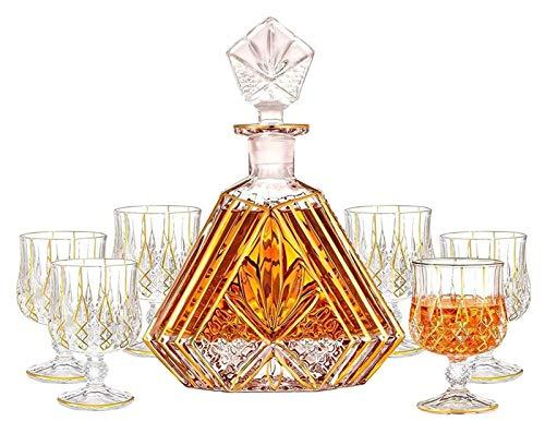 KEKEYANG Decanter di Whisky Pezzo Set con Tappo di Vetro, decantatore di Whisky in Oro con 6 Bicchieri di Whisky, Set di Decanter di Cristallo di qualità Premium Decanter (Color : B, Size : 27cm)