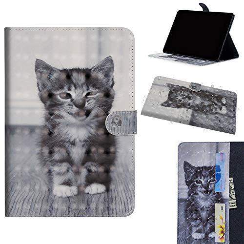 DodoBuy Samsung Galaxy Tab S4 10.5 Custodia 3D Smart Cover Flip Folio in Pelle PU Cuoio Copertura Case Wallet Portafoglio Supporto Slot per Schede per Samsung Galaxy Tab S4 10.5 - Gatto