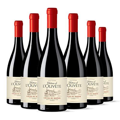 Château de LOlivete - AOP Côtes du Rhône - Vin Rouge - Millésime 2018 - Lot de 6 bouteilles x 75 cl