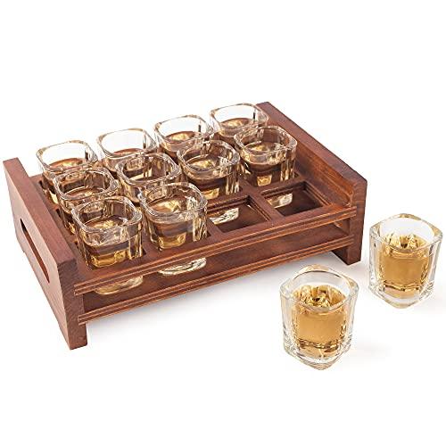 BARGIFTS 12 Shot Glass Server Square Shot Glasses Set with Rustic Burnt Wood Serving Tray,Crystal...