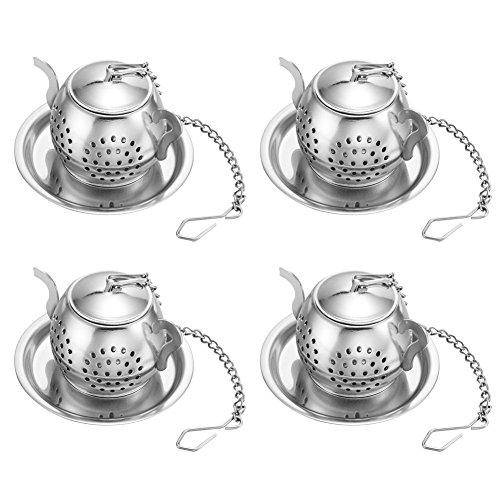 Set di 4 Infusore per tè con Vassoio, RETON Loose Tea Steeper–Best Tea Filtro per tè Filtro Sciolto Steeper