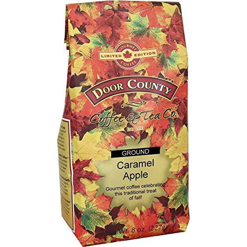 Door County Coffee, Fall Seasonal Flavored Coffee, Caramel Apple, Flavored Coffee, Limited Time, Medium Roast, Ground Coffee, 8 oz Bag