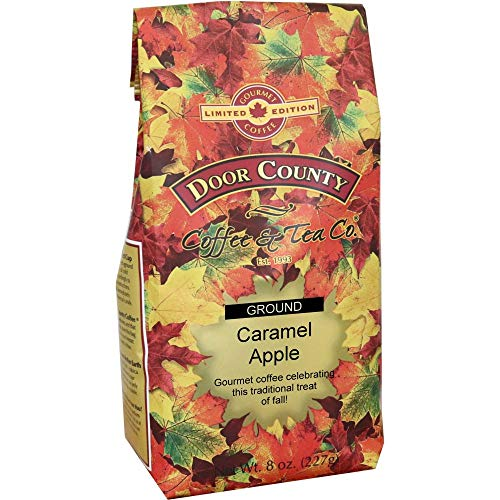 Door County Coffee, Fall Seasonal Flavored Coffee, Caramel Apple, Flavored Coffee, Limited Time, Medium Roast, Ground Coffee, 8 oz Bag