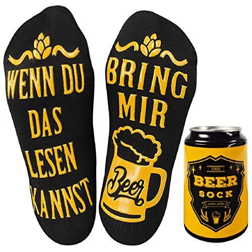 Tuopuda Lustige Socken Bier-Socken mit Bier Kann Wintersocken Herren Damen Weihnachtssocken Haussocken Baumwollsocken Witzige Socken WENN DU DAS LESEN KANNST BRING MIR BEER Weihnachten Socken