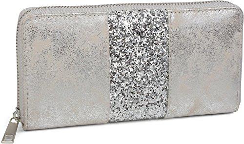 styleBREAKER Geldbörse mit umlaufendem Pailletten Streifen, Reißverschluss, Portemonnaie, Damen 02040056, Farbe:Antik-Silber