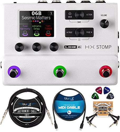 Line6 HX Stomp Multi-Effects Pedal (White) Bundle with Blucoil 10-FT Straight Instrument Cable (1/4in), 5-FT MIDI Cable, 2-Pack of Pedal Patch Cables, and 4-Pack of Celluloid Guitar Picks