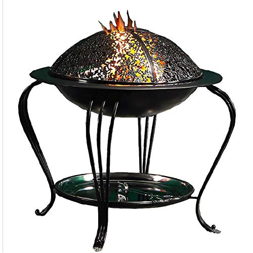 Yrainy Outdoor Fire Pit with Protective Cover and Poker, Upgraded Steel Outdoor Patio Heater, Burner for Wood and Charcoal in Garden