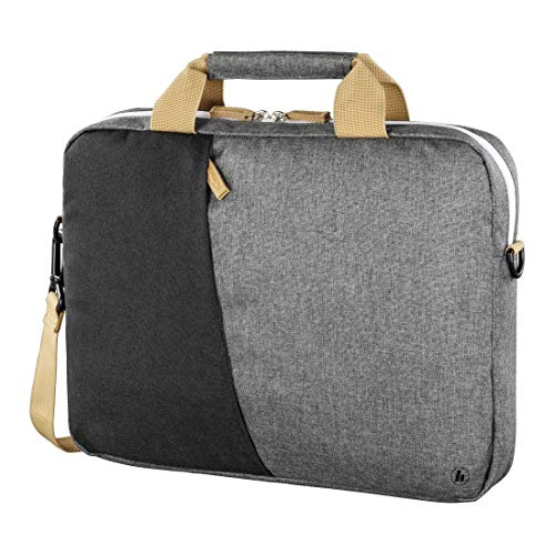 Hama Laptoptasche 40 cm, 15,6 Zoll (gepolsterte Umhängetasche mit Tragegurt & Griff, Schultertasche für Damen & Herren, Aktentasche mit Platz für Zubehör) schwarz, grau